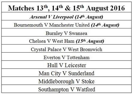 epl match schedule