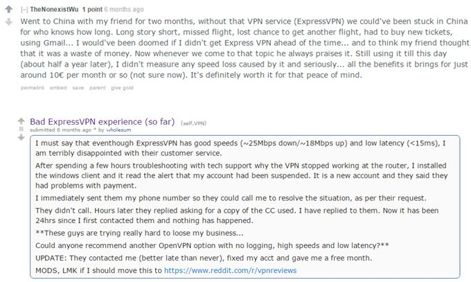 ExpressVPN Reddit Reviews