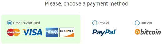 StrongVPN payment method