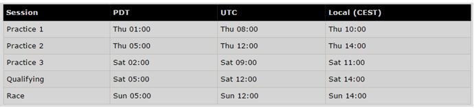 Monaco GP Schedule