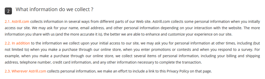 astrill log and privacy policy