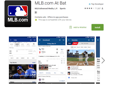 how to watch mlb at bat on android devices