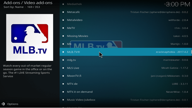 mlb tv kodi addon