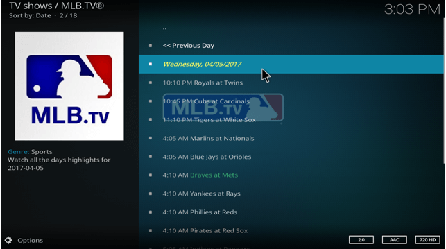 mlb tv kodi xbmc