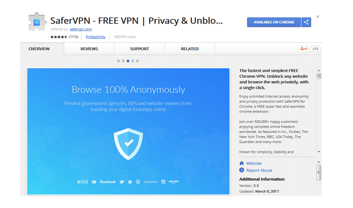 safervpn chrome browser extension
