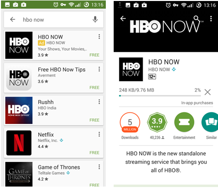 HBO Now on Google Play