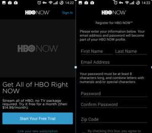 HBO NOW Setting
