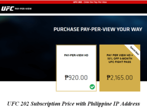 ufc pay per view phillipine