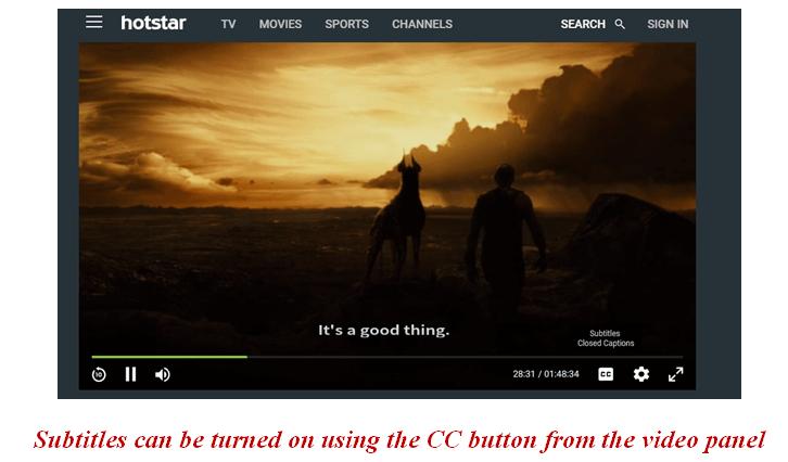 hotstar subtitles cc buttons