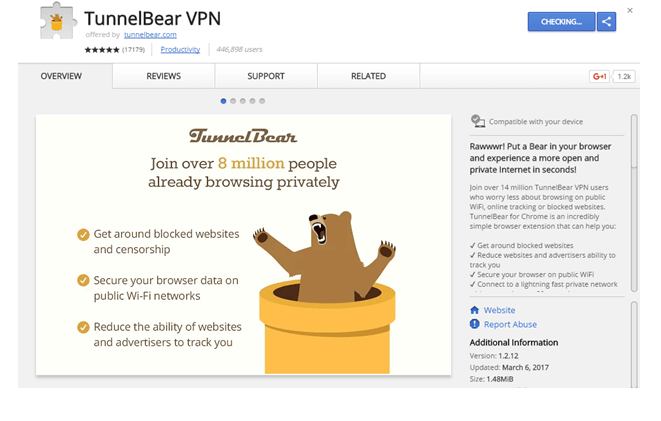 tunnelbear chrome extension review