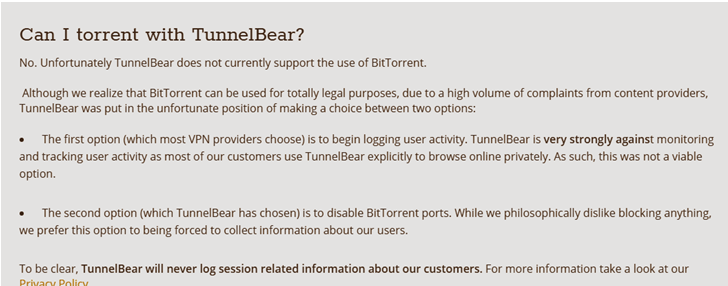 tunnelbear servers for torrenting