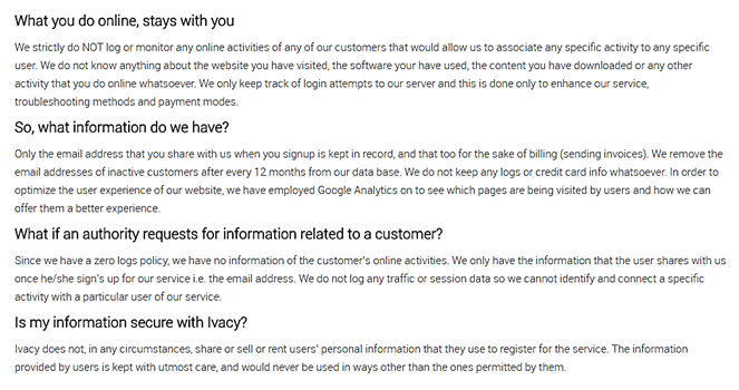 Ivacy Privacy Policy