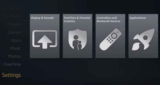 Launch Amazon Fire Stick and click on Settings