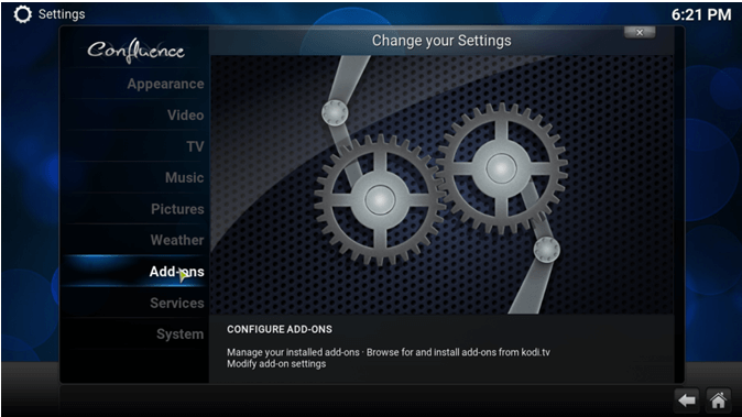 change exodus settings on kodi