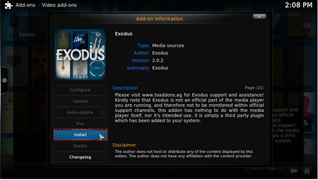 installed exodus kodi message