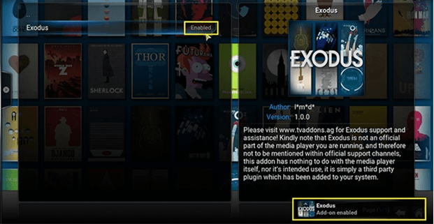 how to enable exodus notification on kodi