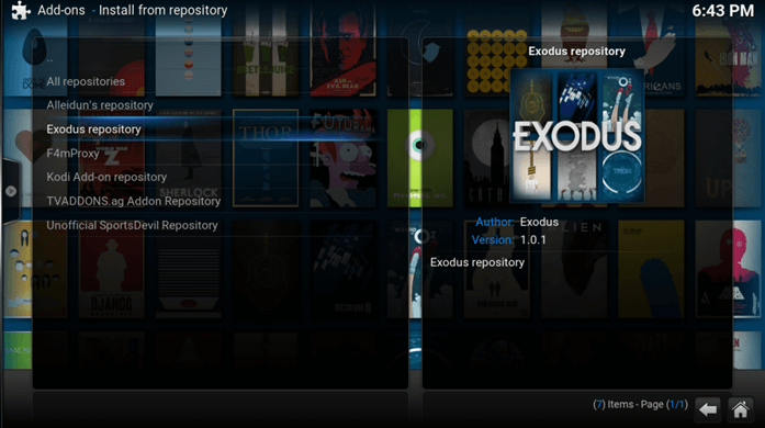 install exodus repository final step kodi