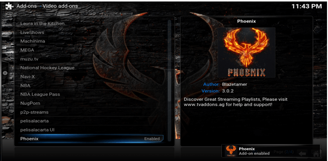 phoenix addon on kodi installed