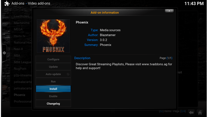 phoenix video addon on kodi