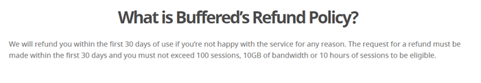 buffered vpn refund policy and money back guarantee