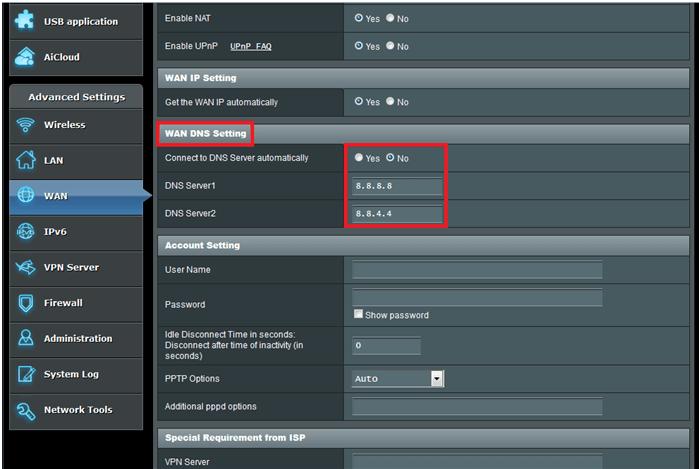 kodi wan dns settings
