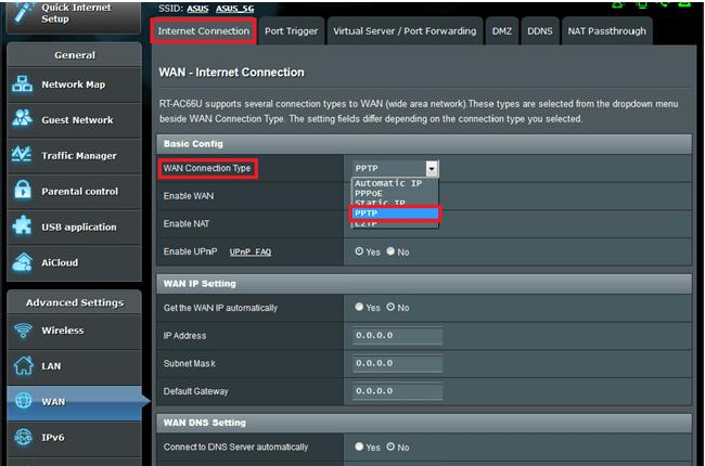 kodi wan router setting