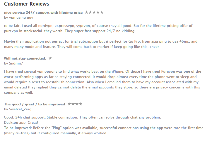 PureVPN iOS App Reviews on Apple iTunes