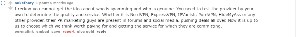 User Review of PureVPN to reddit