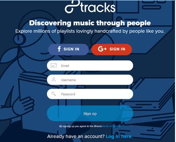 8tracks signup login