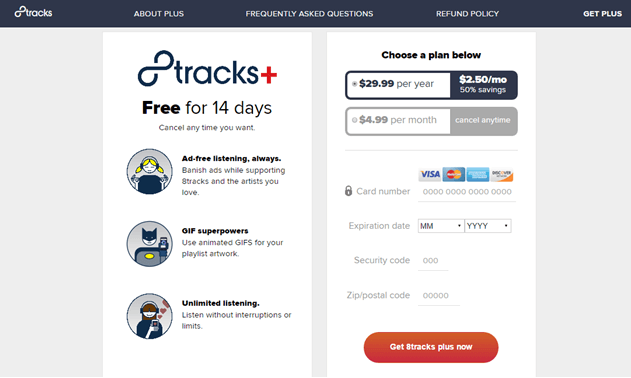 8tracks subscription