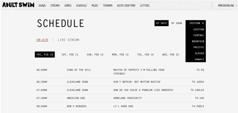 adult swim schedule