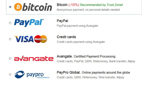 trust.zone payments method