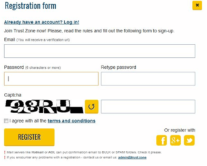 trust.zone registration form