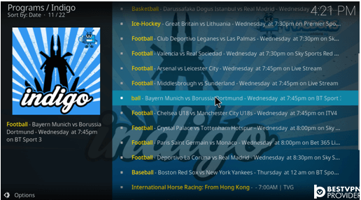 sports channels indigo addon for kodi krypton