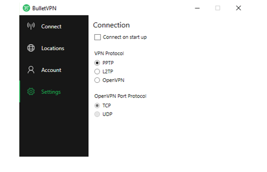 bulletvpn settings