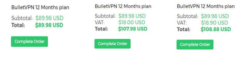 bulletvpn tax