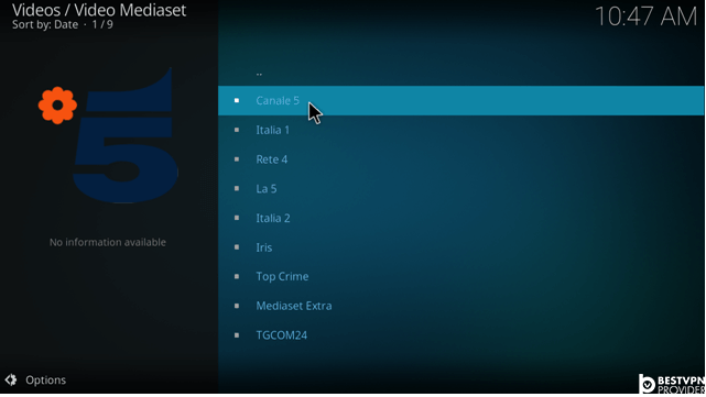 how to add video mediaset addon on kodi