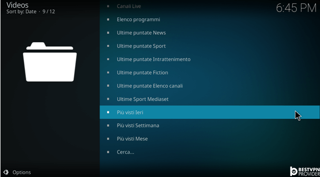 how to watch video mediaset on kodi xbmc
