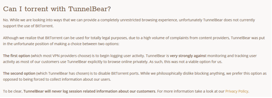 tunnelbear peer to peer review