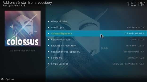 Click on the Colossal Repository