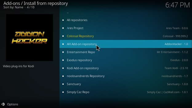 Select AH Add-on Repository