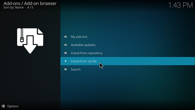 covenant install from zip file on kodi