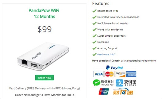 Pandapow Wi-Fi Pricing Plan