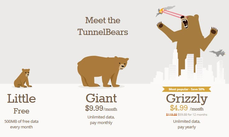 tunnelbear pricing review