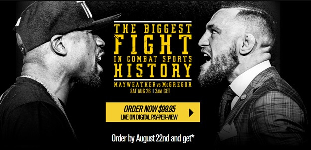 Conor McGregor vs. Floyd Mayweather pay per view in USA
