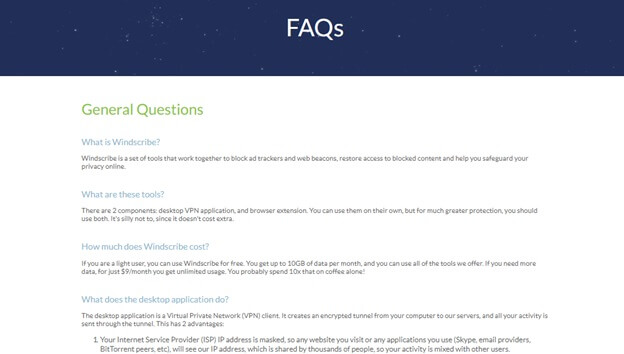 Windscribe FAQs