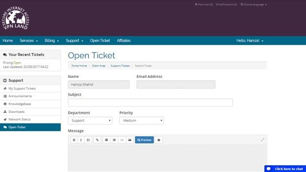 VPN Land Open Ticket