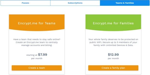 Encrypt.me Plan for Teams & Families