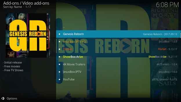 Genesis Reborn kodi video addon