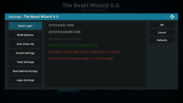 the beast email address and password